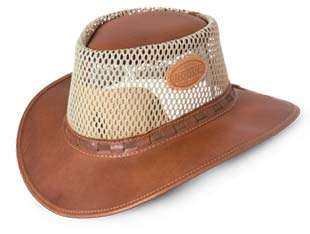 8857c325547 African Full Grain Leather Mesh Bush Hat (Tan Color)