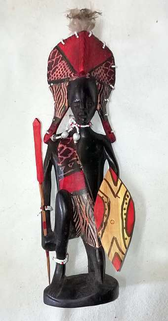 African wooden Masai warrior