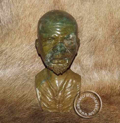 African Jade stone tribal bust