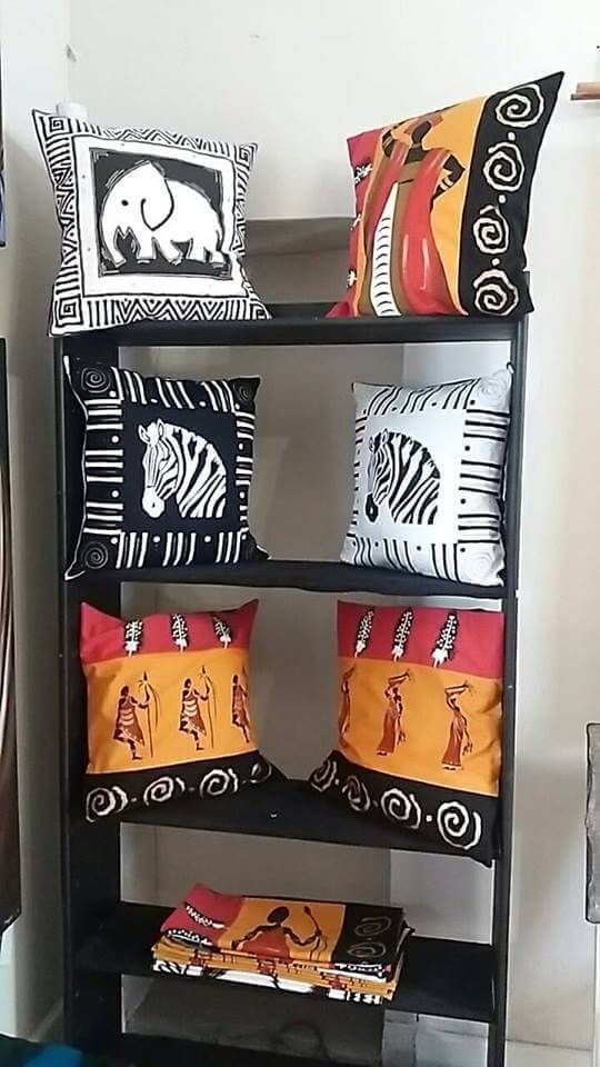 Hand painted African cushions