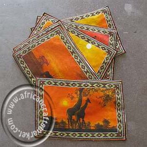 African animal place mats at sunset