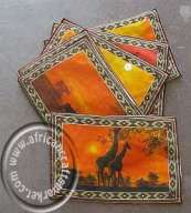 African Place Mats - Animals at Sun Set