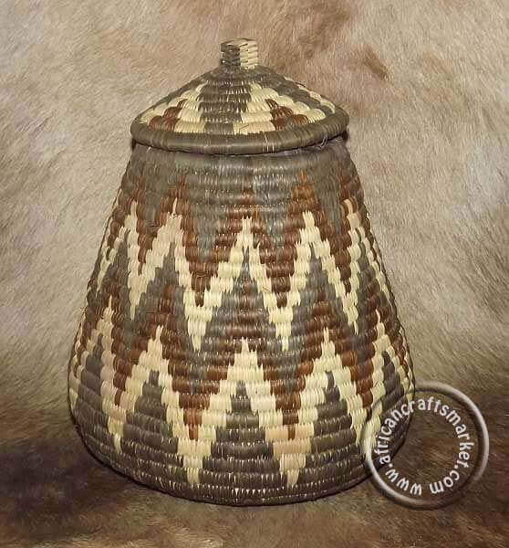 African Round Basket With Lid