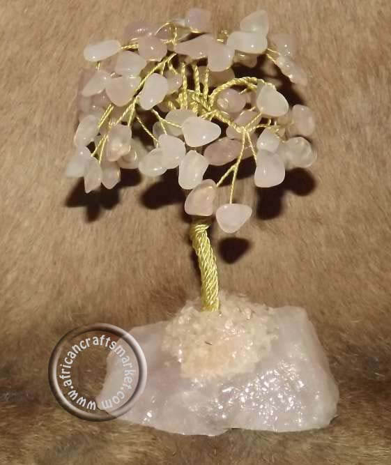 African Rose Quartz gemstone tree