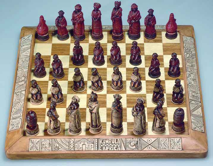 African stone crushed African tribes chess set