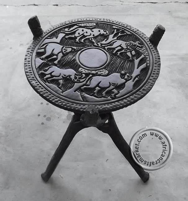 Wooden African tripod table