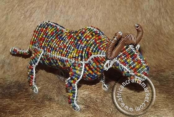 African wire beaded Buffalo