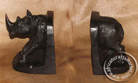 African Hand Carved Wooden Animal Bookends