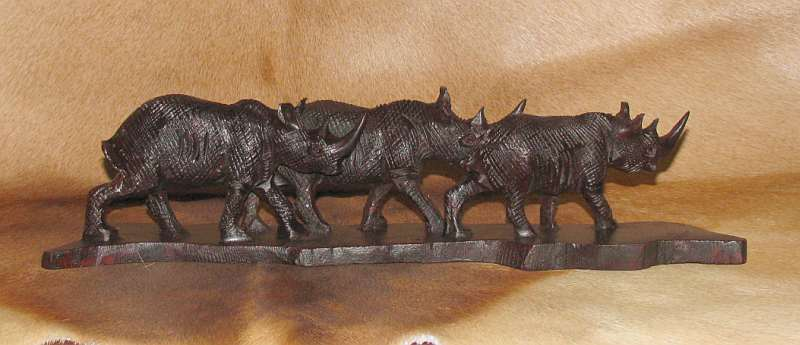 African wooden Rhino family