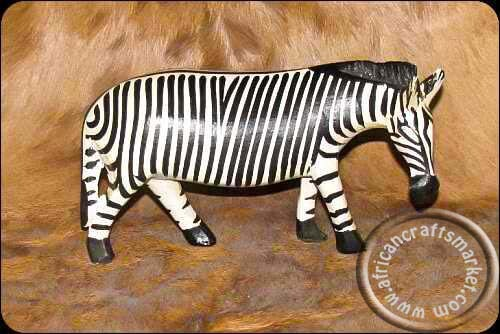 Hand carved wooden African zebra