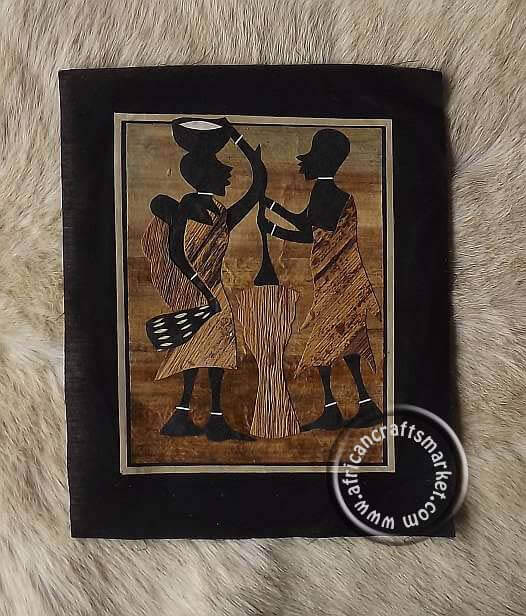 Banana leaf art - African people