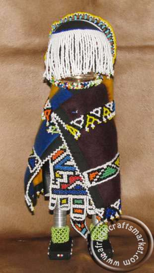 African Ndebele beaded bride doll