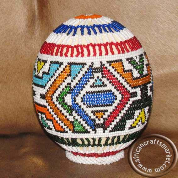 African beaded ostrich eggs