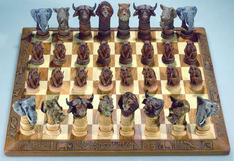 African stone crushed big 5 animal chess set