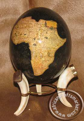 big 5 ostrich egg with map of Africa