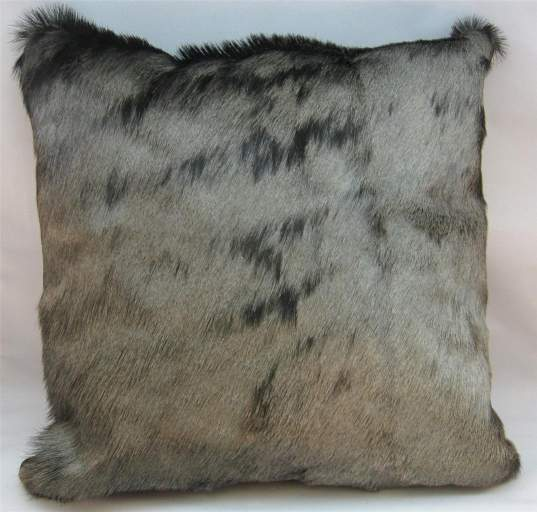 African blue Wildebeest hide cushion
