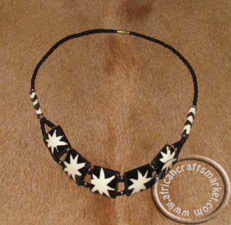 African Zebra Bone Necklace