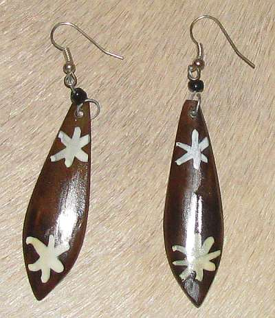 African bone ear rings