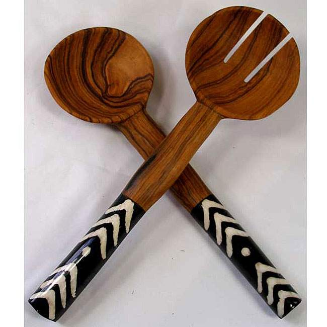 African Wood And Bone Handle Salad Server