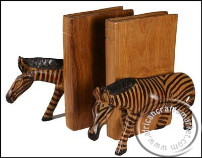 African wooden Zebra bookends