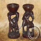 African Wood Giraffe Candle Holders