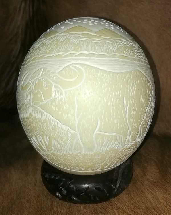 Carved ostrich egg - Buffalo