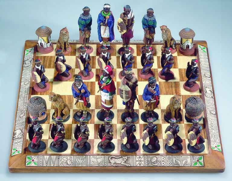 African stone crushed Zulu vs Xhosa tribal chess set