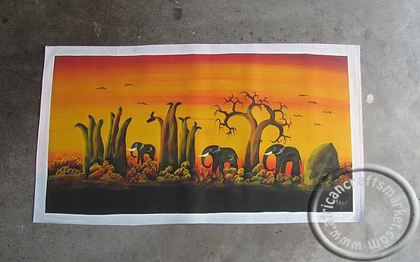 African hand painted Elephant picture