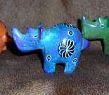 African Soapstone Colorful Rhinos