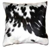 Nguni cow hide cushion-black and white
