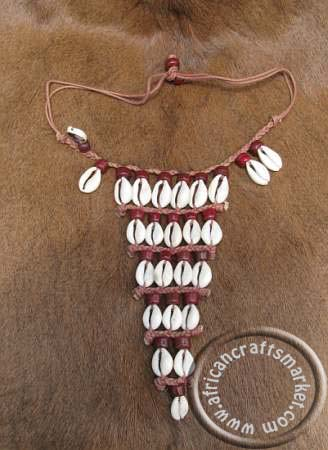 African cowrie shell choker necklace