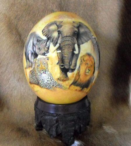 African decoupage ostrich egg of the big 5