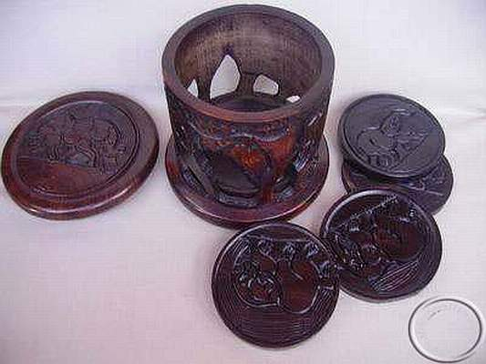 African hand carved wooden coasters