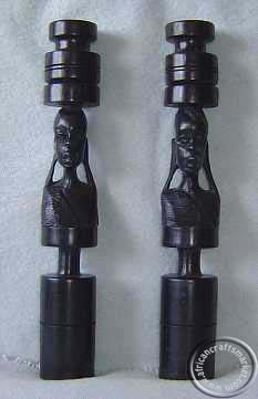 African Masai face ebony candle holder