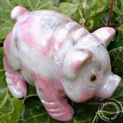 African Gemstone Hand Carved Pig