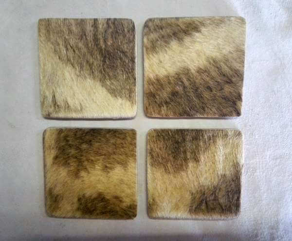 Square Giraffe hide coasters