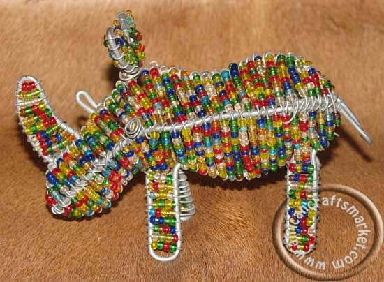 African wire beaded Rhino