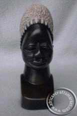 African handcrafted stone Zulu female bust