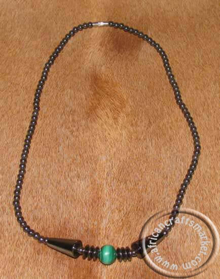 Hematite Necklace with green stone beads