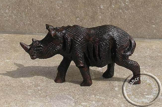 African hand carved Iron wood Rhino
