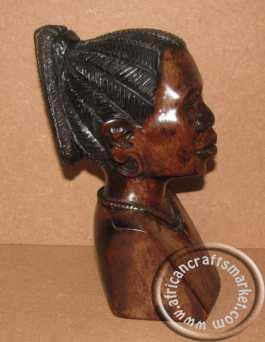 African Shona female wooden bust