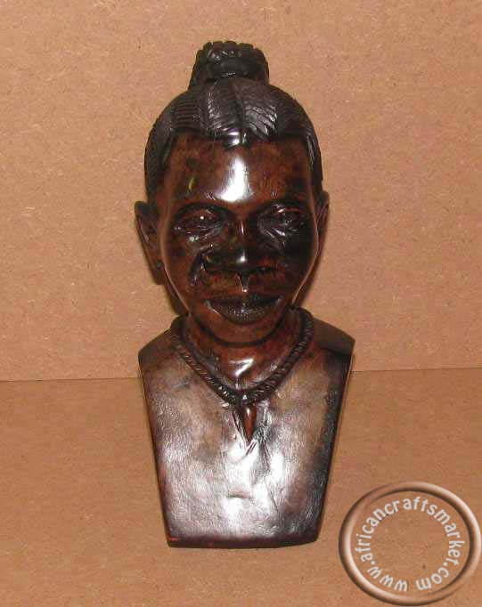 African wood carved female bust head