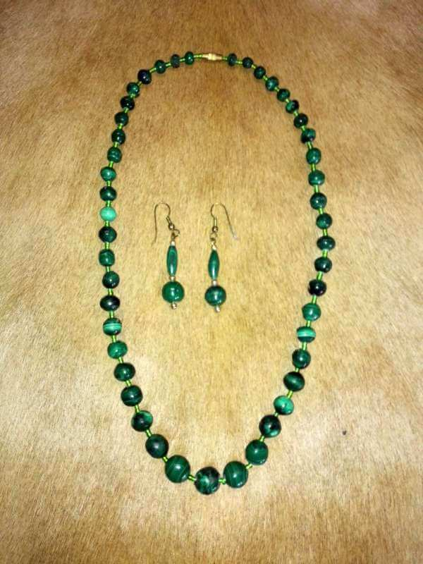 Malachite stone necklace earrings set