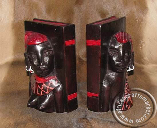 African Maasai tribal bust couple bookends