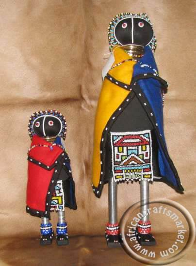 African Ndebele beaded iniviation doll