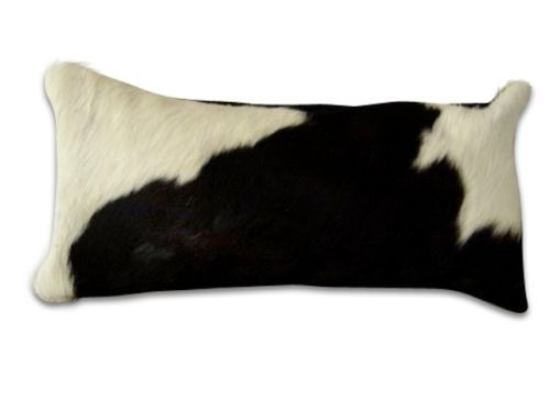 Nguni cow hide bolster cushion - black and white