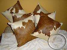 Nguni cow hide cushion - brown and white