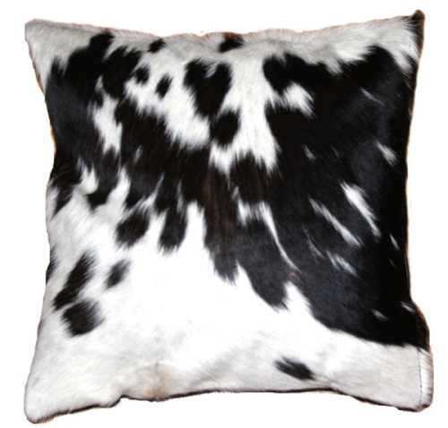 African Nguni cow hide cushion - black and white