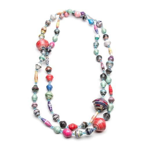 Paper mache bead necklace
