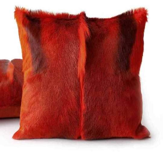 Springbok hide cushion - Red